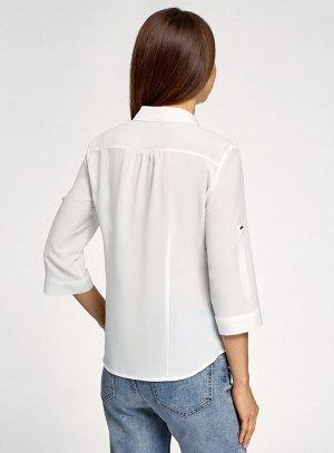 Блузка из струящейся ткани с регулировкой длины рукава Oodji