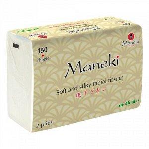 """Салфетки бумажные """"Maneki"""" Kabi 2 слоя, белые, 150 шт./упаковка"""