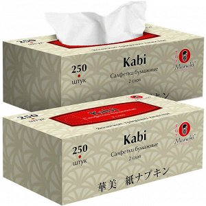 """Салфетки бумажные """"Maneki"""", серия Kabi, 2 слоя, 250 шт./коробка, 1 шт"""