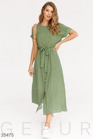 Зеленое платье в констрастный горошек