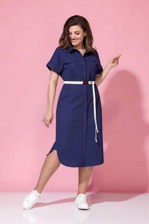 Платье Платье Anna Majewska М-1371D синее  Состав ткани: Хлопок-100%;  Рост: 170 см.  Стильное платье-рубаша из текстильного полотна сжатым эффектом. Платье с центральной потайной застежкой на планку