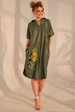 Платье Платье Golden Valley 4688 №1  Состав ткани: ПЭ-85%; Спандекс-15%;  Рост: 164 см.  Платье прямого силуэта, без застежки, с втачным воротником с отрезной стойкой. По переду с втачной планкой, на