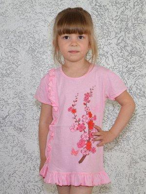 Туника с воланом розовая
