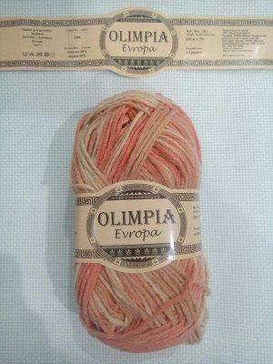 """Пряжа для руч.вяз.""""Olimpia Europa"""" цв.EM8 мульти-гербера (хлопок-50%, акр-50%) 1шт*100г"""