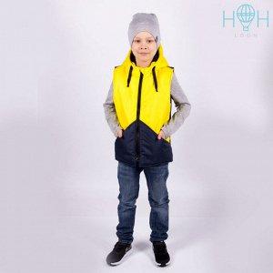 Двухцветный жилет с прорезными карманами, желтый/темно-синий