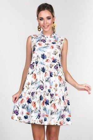 Платье Альма №1 .Цвет:белый/цветы