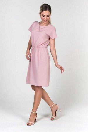 Платье Ульяна №2 .Цвет:св.розовый/горох