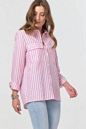 Рубашка Цена Сп 2325 Подойдет на 42 -44 Ткань: сорочечная Состав: хлопок 100% Цвет: полоска белая, розовый • Длина рукава: длинные, втачной • Тип горловины: отложной воротник • Линия плеча: на естеств