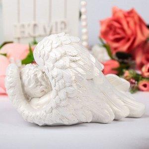 """Статуэтка """"Ангел в крыле"""", белая, 13 см"""