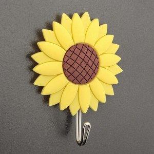 Крючок-наклейка «Подсолнухи», цвет жёлтый 3619119