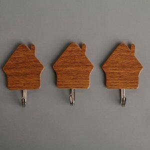 Набор крючков на липучке «Деревянные домики», 3 шт, цвет тёмное дерево