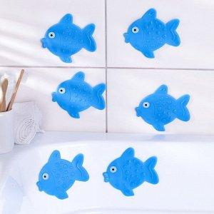 Набор мини-ковриков для ванны Доляна «Рыбка», 11?12 см, 6 шт, цвет МИКС