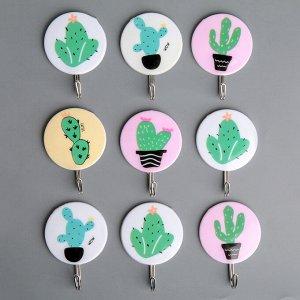 Набор крючков на липучке «Кактус», 9 шт, цвет и рисунок МИКС