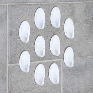 Набор крючков самоклеящихся «Овальчик», 10 шт, цвет МИКС