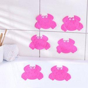 Набор мини-ковриков для ванны Доляна «Краб», 9?12 см, 6 шт, цвет МИКС