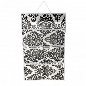 Органайзер с карманами подвесной «Вензель», 37?60 см, 6 отделений, цвет чёрно-белый 709703