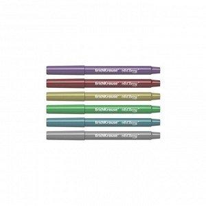 Фломастеры 6 цветов металлик ArtBerry смываемые, линия 1.0-4.0 мм, с утолщённым корпусом