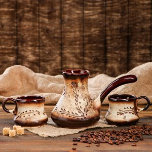 """Кофейный набор """"Верба"""", 3 предмета: турка 0.6 л, чашка 0.2 л"""
