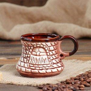 "Кофейный набор ""Таверна"", под шамот, 3 предмета, турка 0.65 л, 2 чашки 0.25 л, микс"