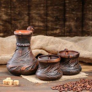 "Кофейный набор ""Норс"", декор, 3 предмета, турка 0.65 л, 2 чашки 0.25 л, микс"