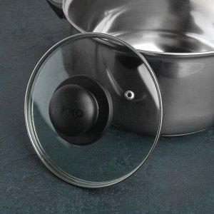 Крышка для сковороды и кастрюли стеклянная, d=16 см, с пластиковой ручкой
