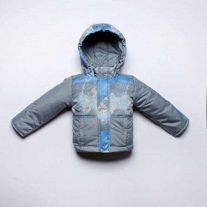 Куртка серо-голубая детская утепленная, весна/осень арт.70-002-серый_голубой