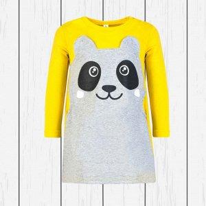 Платье детское арт.923п-желтый_меланж_панда
