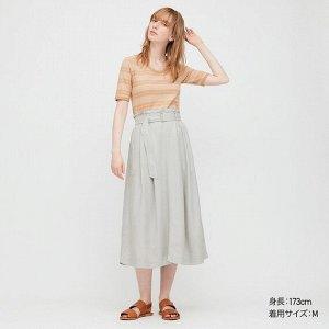 Длинная юбка из льна (длина 79,5-83,5 см),зеленый
