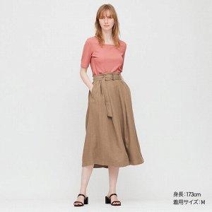 Длинная юбка из льна (длина 79,5-83,5 см), коричневый