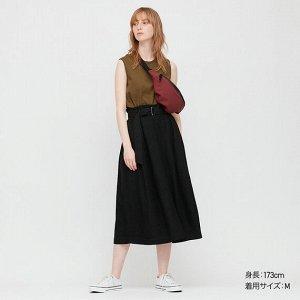 Длинная юбка с поясом из льна (длина 79,5-83,5 см), черный
