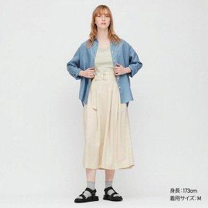 Длинная юбка из льна (длина 79,5-83,5 см), белый