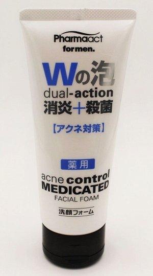Пенка для умывания мужская против акне Pharmaact Men's Anti-inflam + Sterilization Medicated Facial Cleansing Foam 130 гр/Япония, ,
