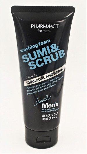 "Пенка-скраб для умывания мужская ""Древесный уголь"" Pharmaact Men's Charcoal Scrub Facial Cleansing Foam 130 гр/Япония, ,"