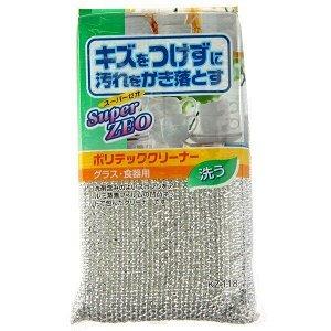 164184 AISEN KOUGYOU Super ZEO Губка для мытья посуды из поролона в сетке с аллюминиевым покрытием, антибактериальная/300