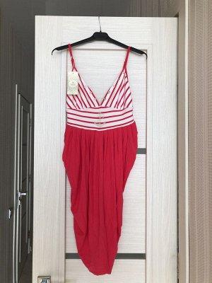Домашнее платье розовое с белым