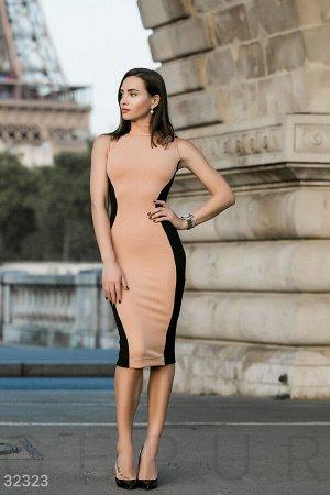 Двухцветное облегающее платье