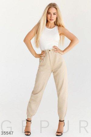 Бежевые джинсы-джоггеры Gepur