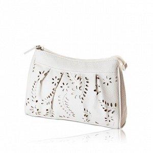 Новая белая  косметичка - клатч, 20x14x6 см, мягкая иск. кожа