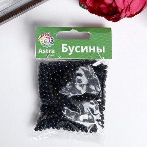 Набор круглых бусин, пластик,  4мм, 25гр, чёрные