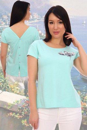 Блузка Данный товар можно выбрать по расцветкам: голубой;ментол;розовый;синий;в ассортименте. состав: хлопок 94%, лайкра 6%, ткань: кулирка с лайкрой пенье . Блузка молодёжная с мерцающим принтом на г