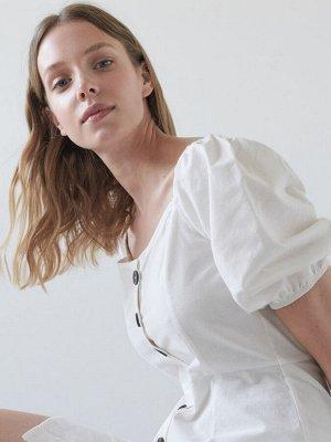 Мини-платье с рукавами буф