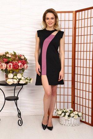 Д517 Платье Мирель (Черное с сиреневой вставкой)