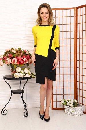 Д519 Платье Муза (Желтый+черный)