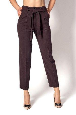 Бордовые клетчатые брюки-банан