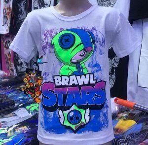 Светящаяся футболка «Brawl stars» Лион белая