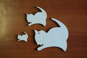 Котята Котята, в наборе 3 штуки, (продается в разобранном виде в палетках), размеры 10*10 см, 6*6 см, 3*3 см, материал: фанера 3 мм.   Заготовка продается в палетках. Для сохранности при транспортиров