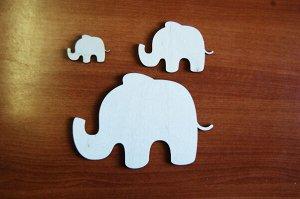 Слоники Слоники, в наборе 3 штуки, (продается в разобранном виде в палетках), размеры 16,5*11 см, 9*6 см, 3*5 см, материал: фанера 3 мм.   Заготовка продается в палетках. Для сохранности при транспорт