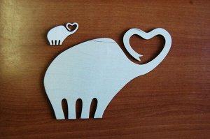 Слоны Слоны, в наборе 2 штуки, (продается в разобранном виде в палетках), размеры 22*15 см, 7*5 см, материал: фанера 3 мм.   Заготовка продается в палетках. Для сохранности при транспортировке детали