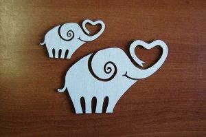 Слоны Слоны, в наборе 2 штуки, (продается в разобранном виде в палетках), размеры 20*13 см, 9*6 см, материал: фанера 3 мм.   Заготовка продается в палетках. Для сохранности при транспортировке детали