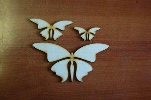 Бабочки Бабочки, в наборе 3 штуки, (продается в разобранном виде в палетках), размеры 16*18 см, 9*4,5 см, 3*6 см, материал: фанера 3 мм.   Заготовка продается в палетках. Для сохранности при транспорт
